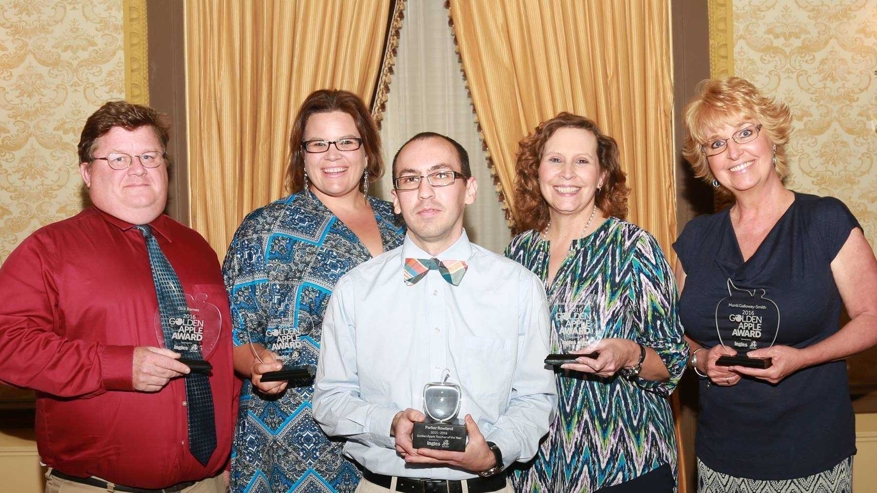 Teacher of the Year (center:) Parker Rowland - Monaview Elementary School, Greenville&#x3B; Dick Barnes - Spartanburg Day School, Spartanburg&#x3B; Jennifer Christenbury - Flat Rock Elementary, Anderson&#x3B; Monti Galloway-Smith - Hillcrest Middle School, Simpsonville&#x3B; Hope Petrillo - Riverside Middle School, Pendleton