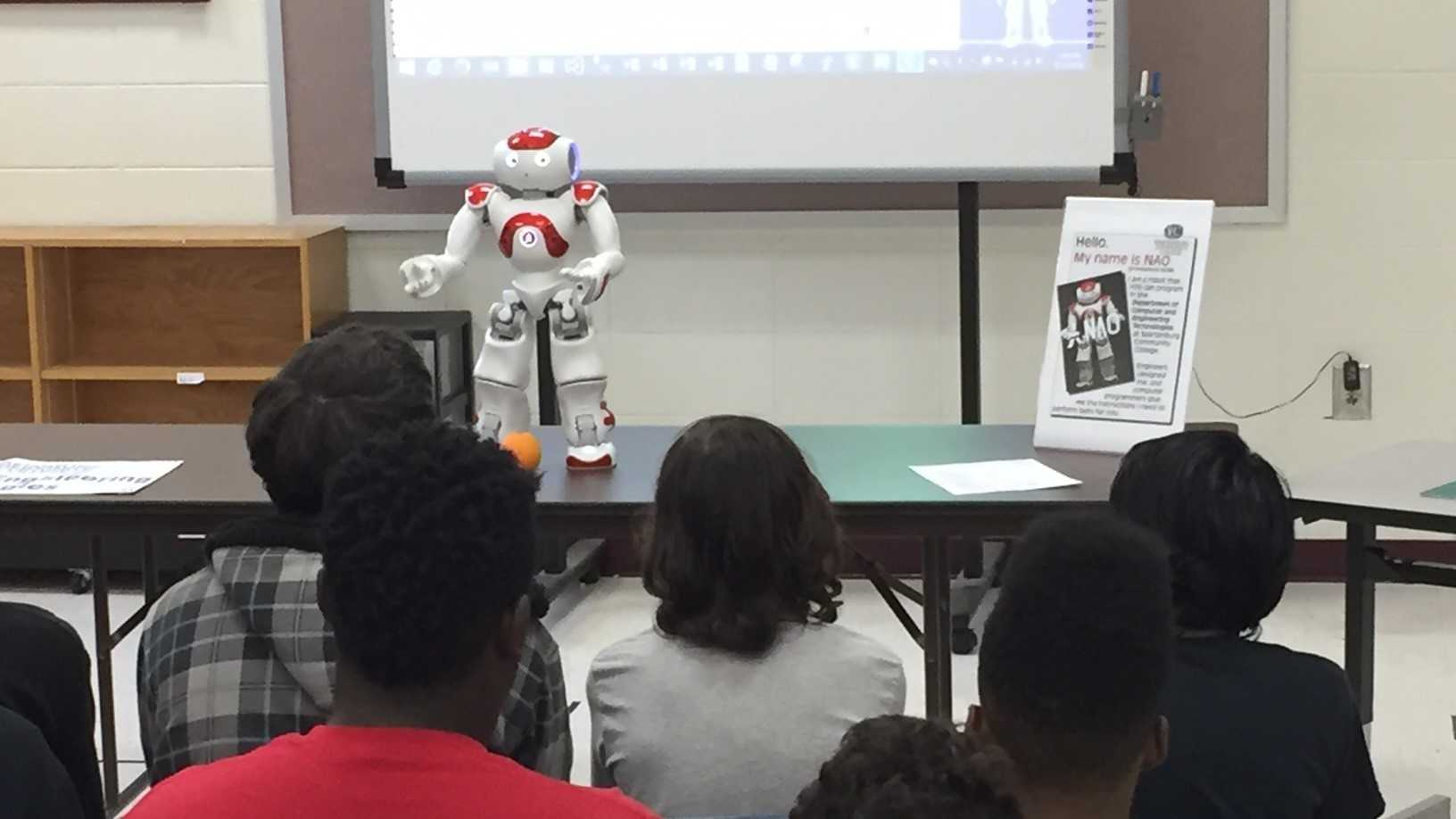 Humanoid robots visit Carver Middle School in Spartanburg.