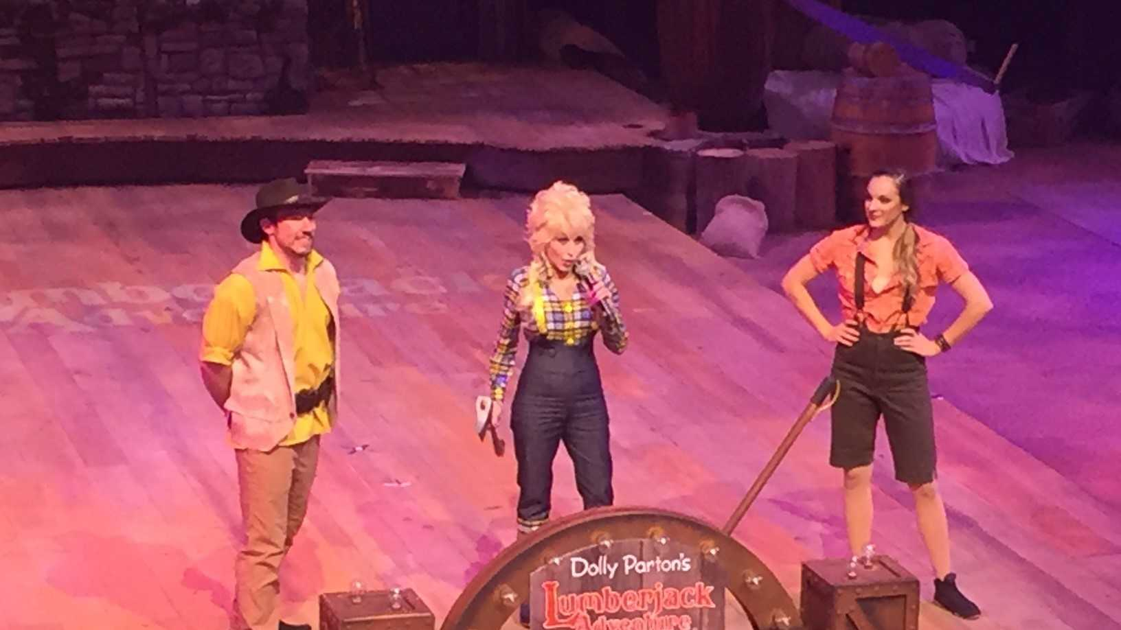 Dolly Parton opens her new attraction, Lumberjack Adventure, in Pigeon Forge.