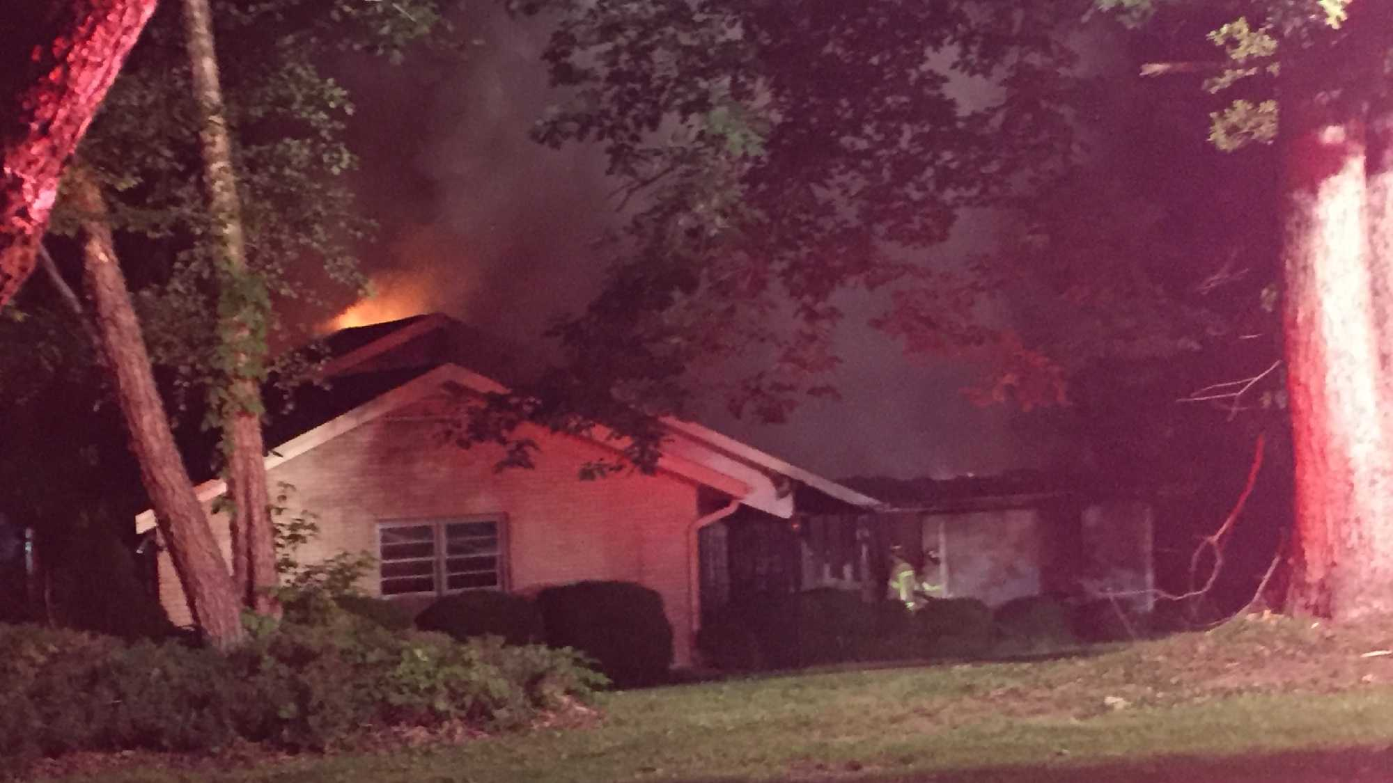 Fully-involved house fire in Spartanburg