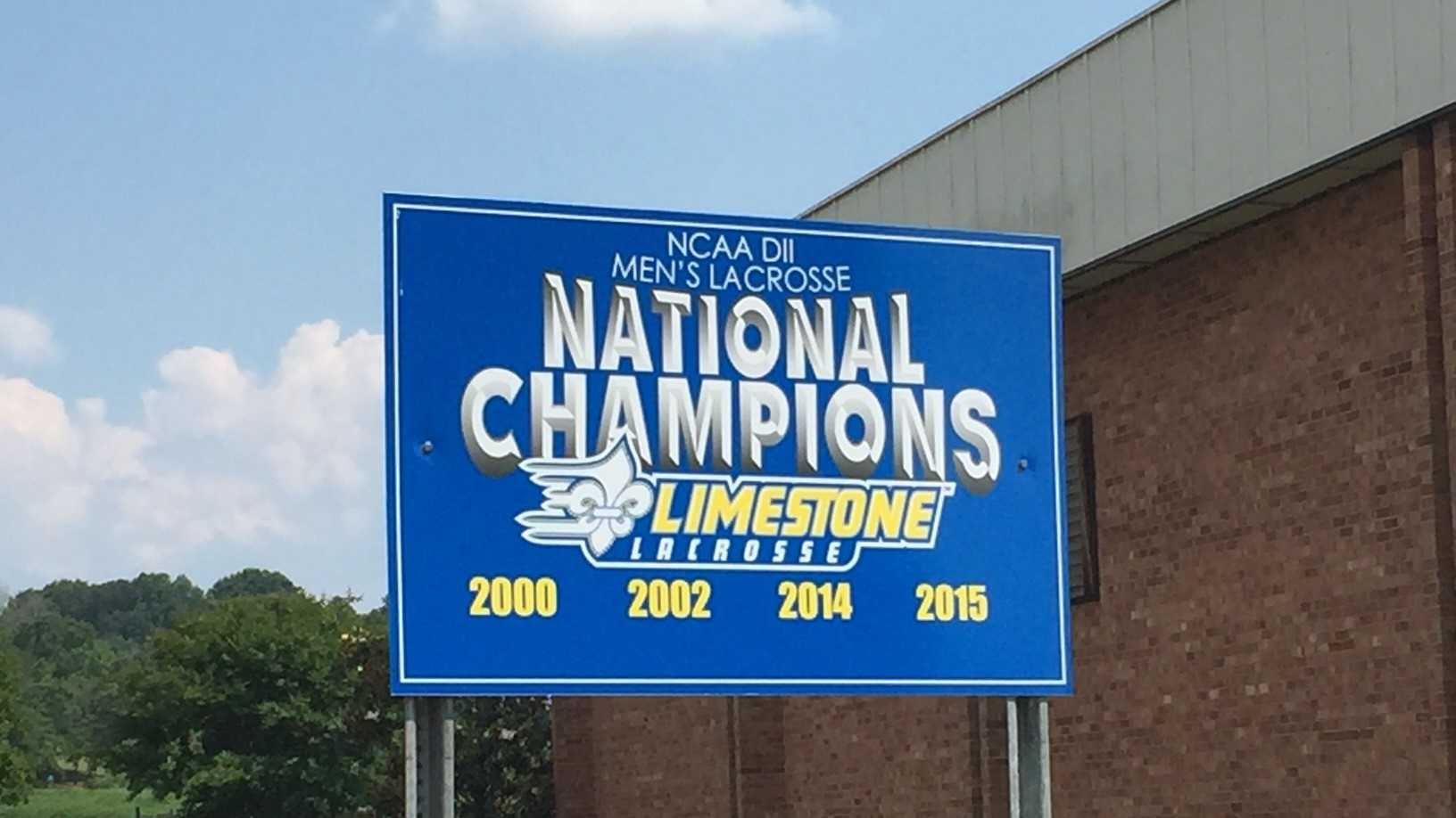 Signs celebrating the Limestone College lacrosse team are on the campus and along Highway 29 in Gaffney.