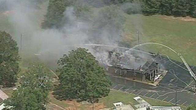 Fire gutted a building in Greenville County Tuesday afternoon.