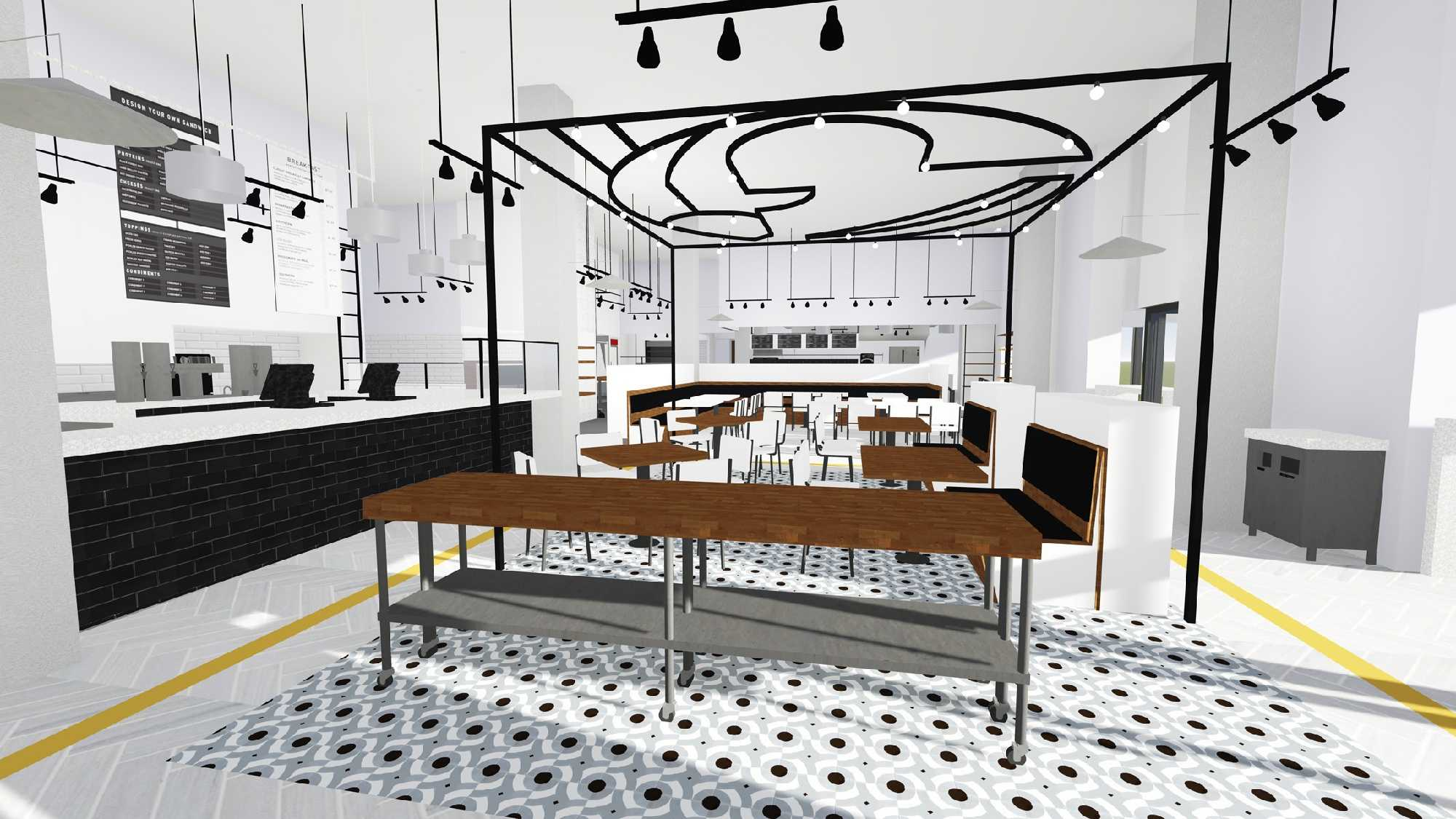 Rendering of the front bar of the Caviar & Bananas that will open in Greenville on Aug. 5.