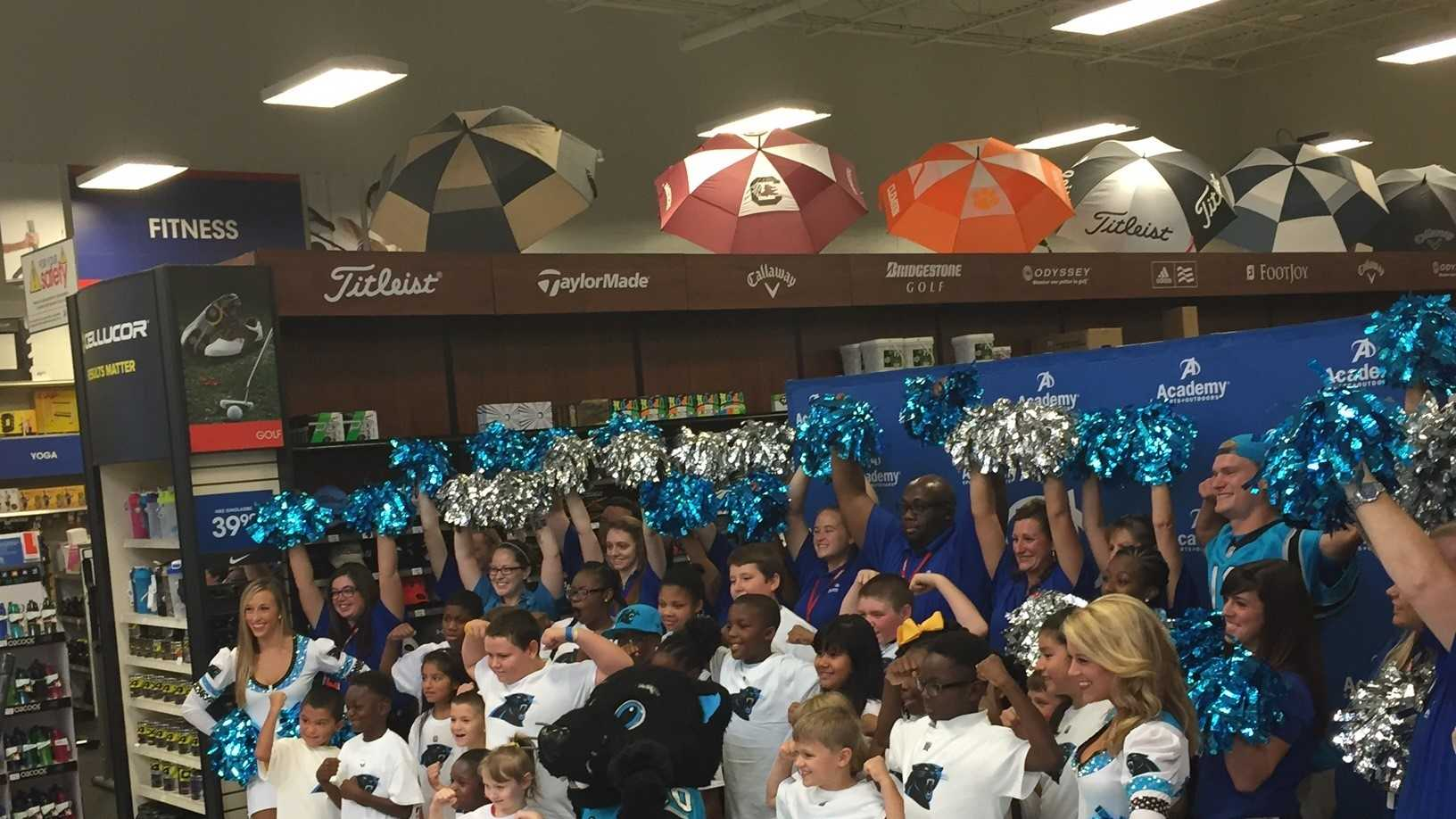 The Carolina Panthers and Academy Sports and Outdoors teamed up to take 28 students on a back-to-school shopping spree in Spartanburg.