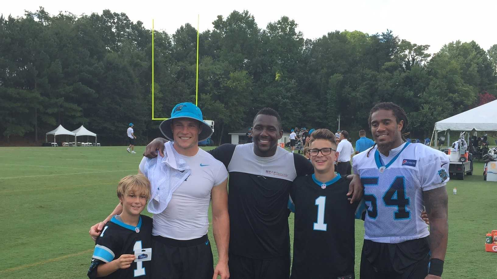 Anthony Prastio of Upstate New York was the 100,000th fan to visit Panthers training camp.