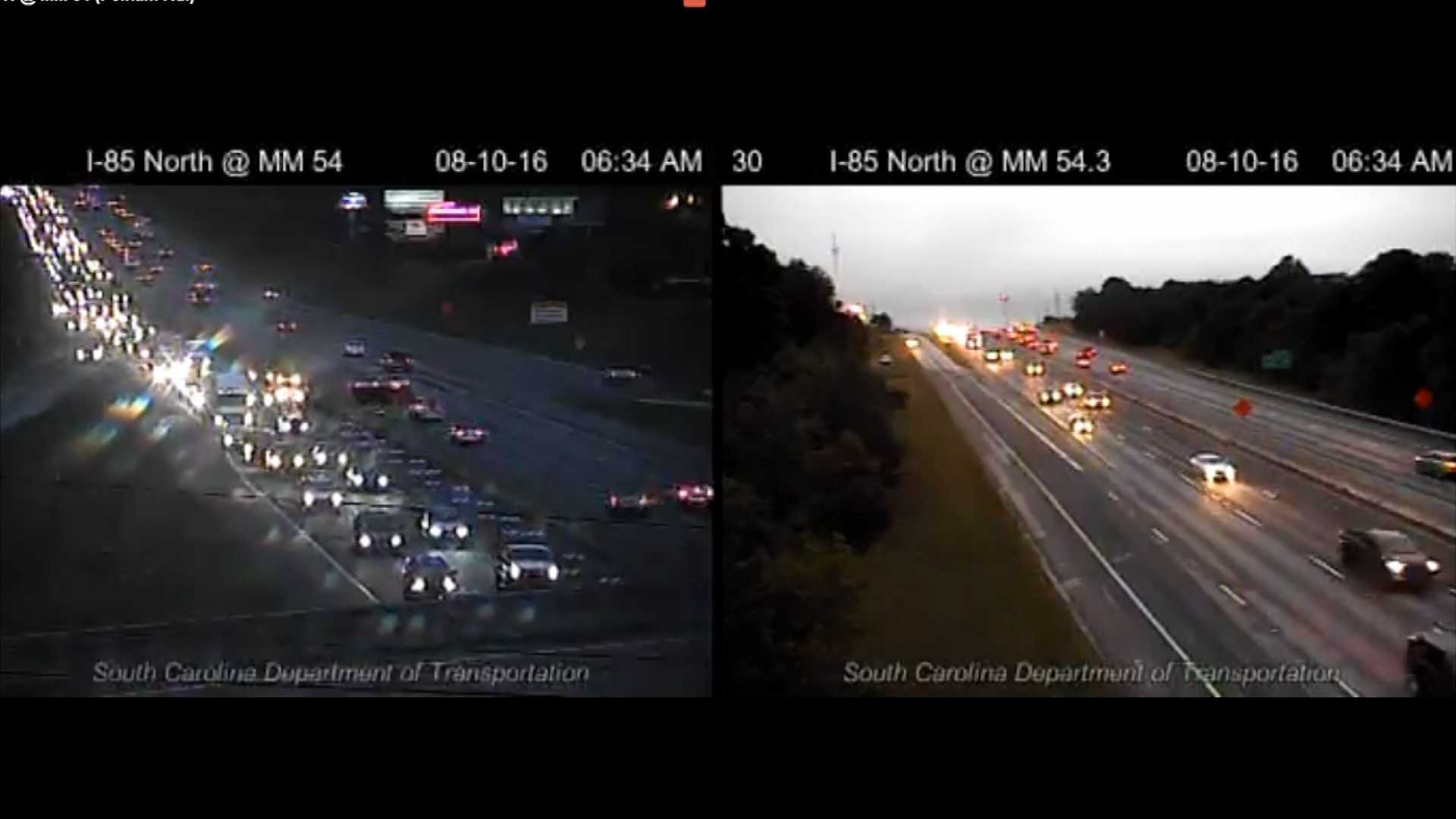 Traffic is backed up on Interstate 85