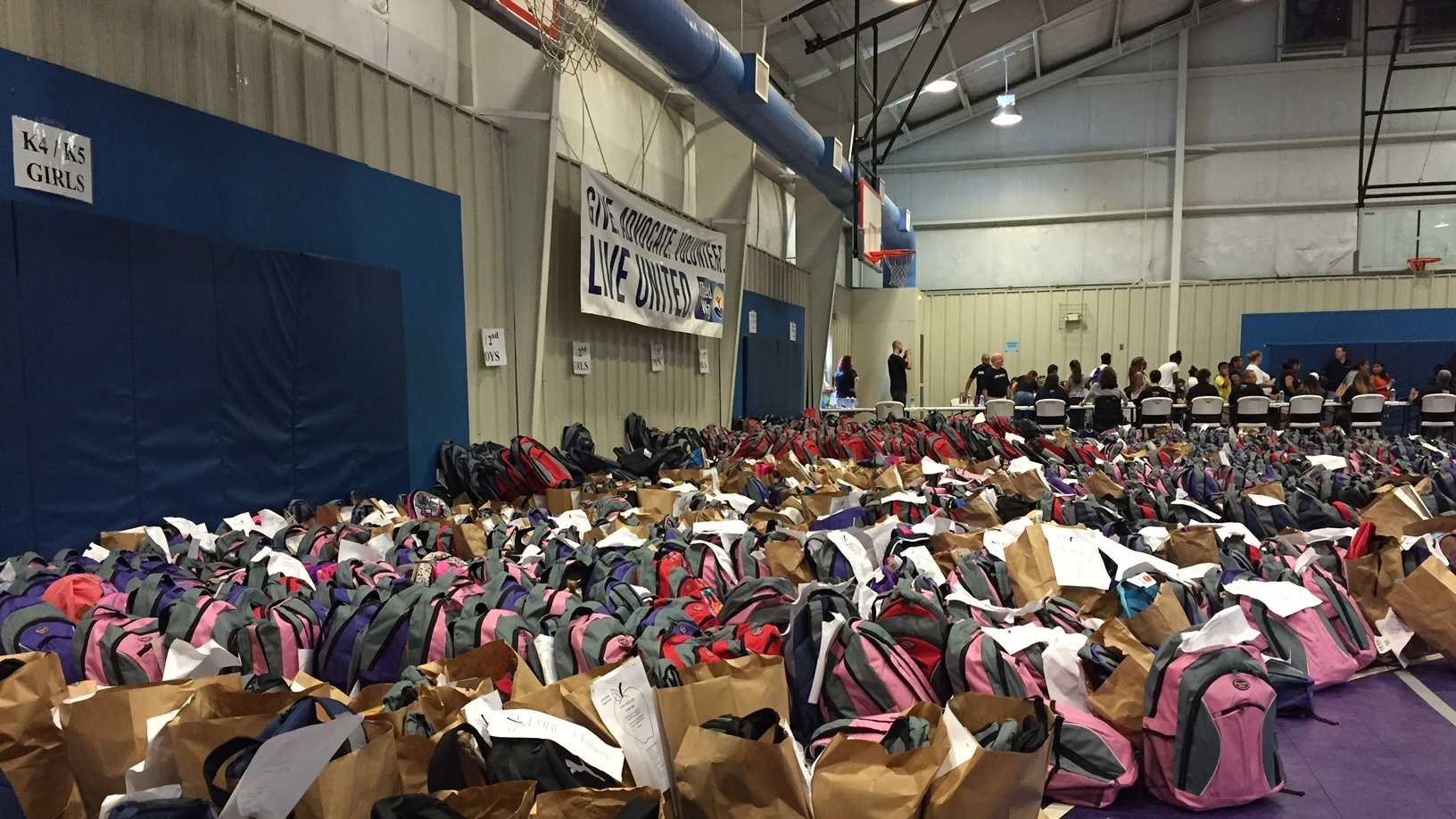 More than 3,500 kids received school supplies at event in Greenville.