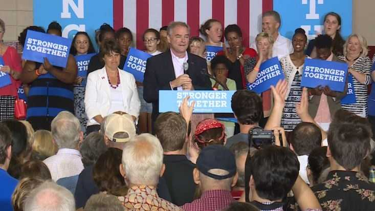 Kaine campaigning in Asheville.
