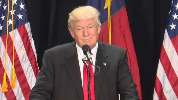 Donald Trump at rally in Charlotte.