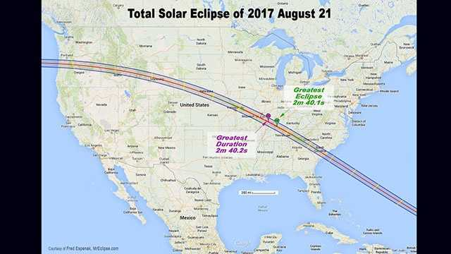 2017 Total eclipse map