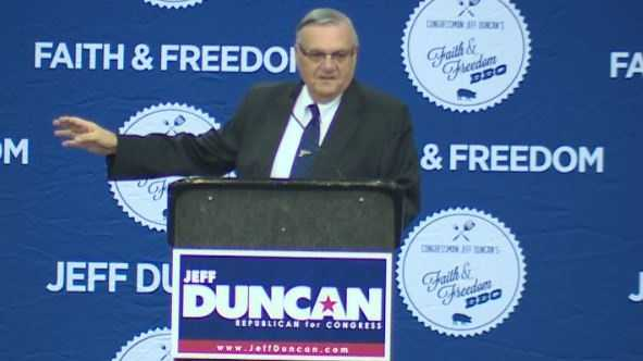 Ariz. sheriff Joe Arpaio speaking at Faith and Freedom BBQ event.