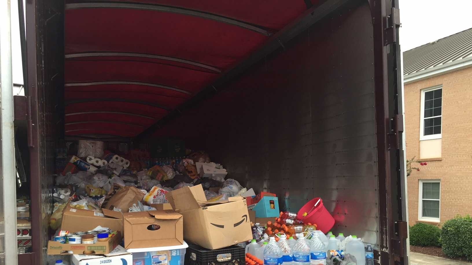 Volunteers filled two 18-wheelers with donations for flood victims in Louisiana.