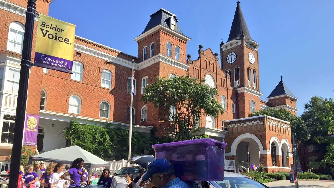 New students move into Converse College with the help of upperclassmen, staff members, faculty and the college's new president.