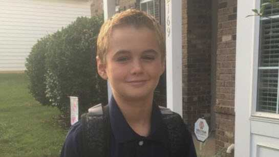 11-year-old Garrett pope Jr on his first day of 6th grade.