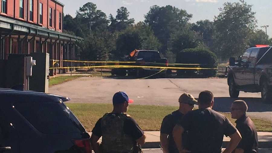 Picture of the suspect's truck at the school