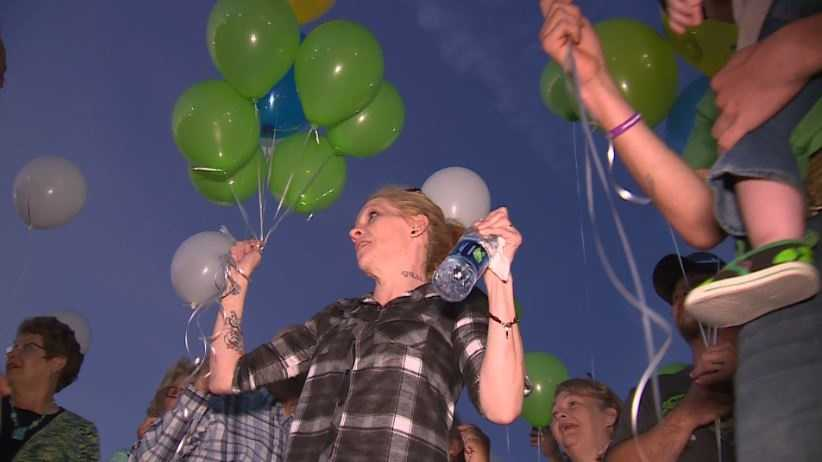Renae Hall, Jacob's Hall mother led balloon release in honor of his life.