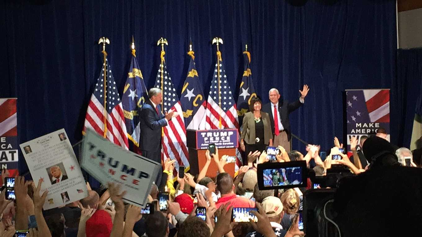 Mike Pence rallying in Fletcher, N.C.