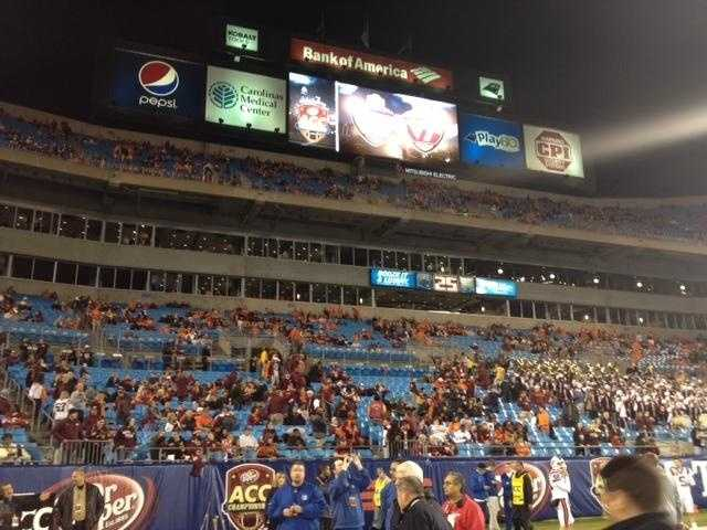 The crowd files into Bank of America Stadium