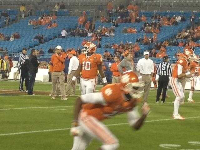 Clemson warming up before the ACC Championship.