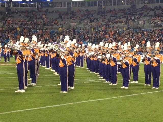 The Tiger band roars at halftime of the ACC Championship