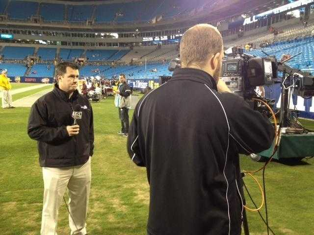 WYFF's Brad Fralick talking about the Tigers during a live shot in Charlotte.
