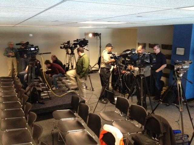 The media getting ready for Clemson head coach Dabo Swinney's press conference for the ACC Championship.