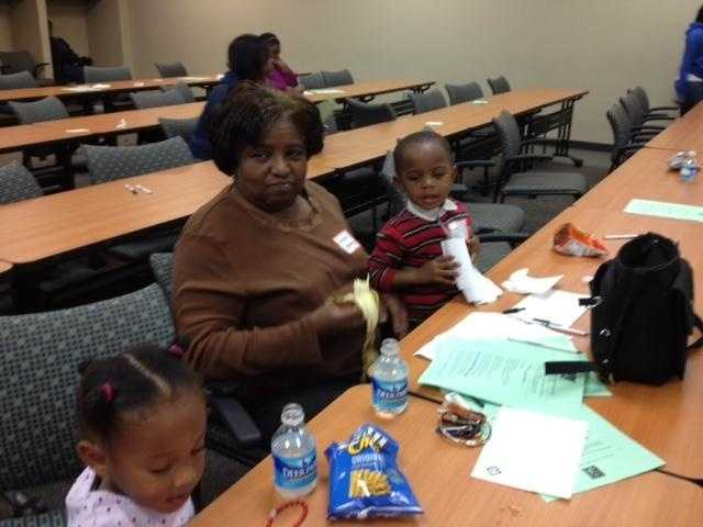 Almenda Cummings is here with her great niece and great grandson while her boyfriend applies for a job.