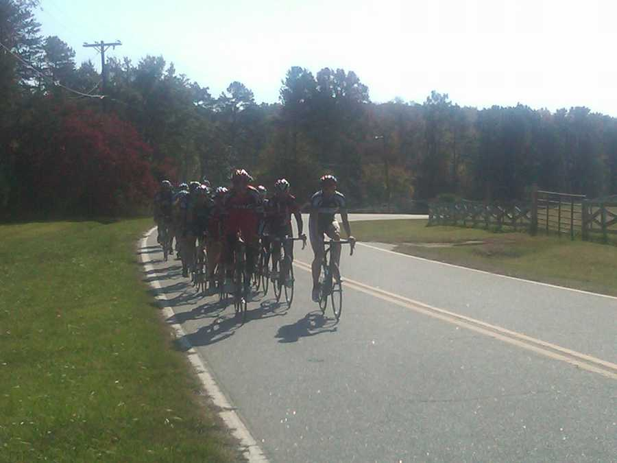 The cyclists make their way on Roeford Road.  Their ride ended where it started, at Hincapie Sportswear on Pete Hollis Boulevard in Greenville.