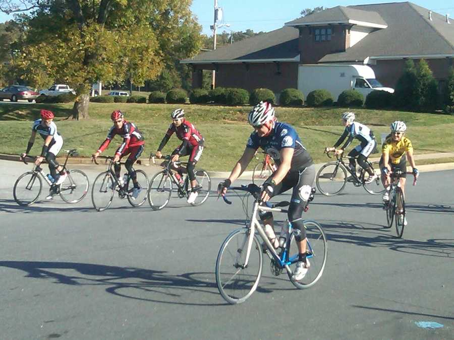 Hincapie leads the group on the ride.