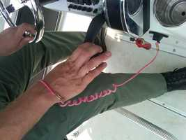 A kill switch attaches to your wrist. It's not required but it will cut the kill the engine if you fall off the boat. DNR said said a kill switch is as important as a life jacket.