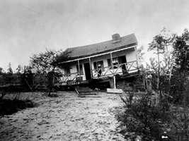 This wooden house in Lincolnville was thrown off its foundation by the earthquake.