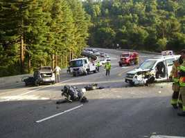 A major three-vehicle collision on Highway 17 happened near the Laurel Curve on Oct. 5, 2011. A sport utility vehicle smashed head-on into a Honda, and an engine flew out of one of the vehicles.