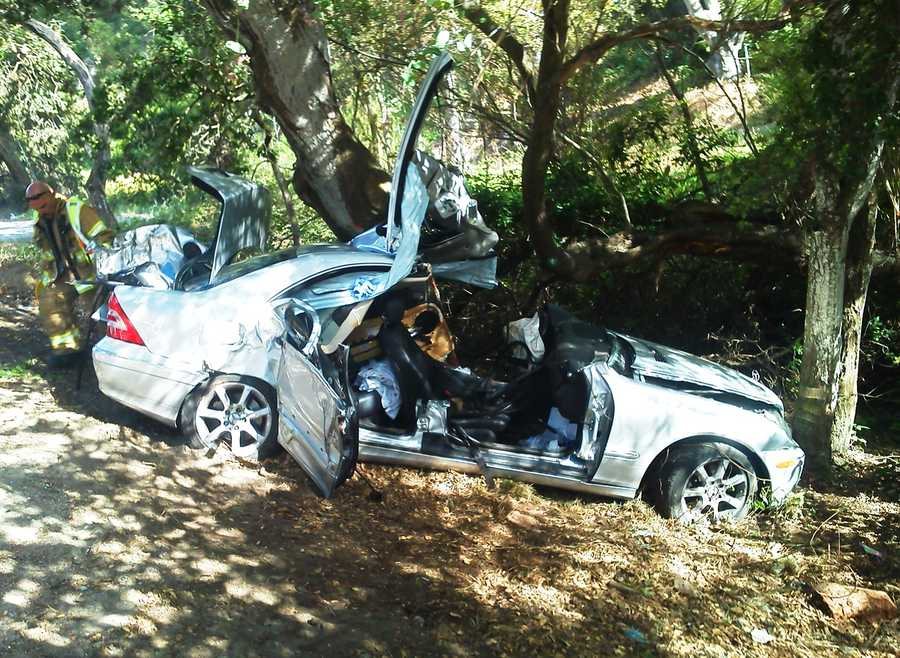A car careened off Highway 68 in Monterey and rammed into a tree. (June 14, 2012)