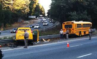 The collision happened near Highway 17's Mount Hermon Road off-ramp in Scotts Valley. The bright yellow school bus smashed head-on with a bright yellow Penske van. (Oct. 1, 2012)