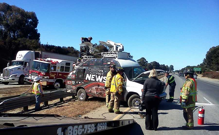 The wreck happened while traffic was merging from North Main Street onto Highway 101 northbound, and the Jeep's driver attempted to avoid merging traffic by veering from the slow lane into the fast lane.While changing lanes, the Jeep swiped the news van, and the van fishtailed out of control. Both vehicles landed sideways on the center median, and the roof of KION's live satellite van was gouged.