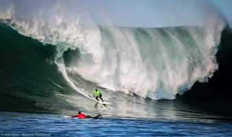 New photos were released this week of theMavericks Invitational 2013 big-wave surf contest, including this incredible shot by photographer Mike Jones.