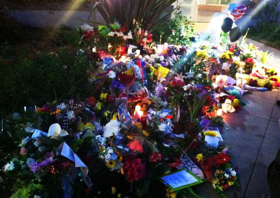 This memorial was built by Santa Cruz residents at the Louden Nelson Center downtown for the fallen officers on Wednesday.