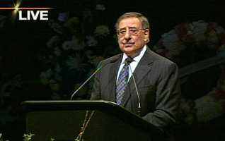 "Former U.S. Defense Secretary and Central Coast-native Leon Panetta gave a powerful speech.""As those shots took the lives of these fine officers, those same bullets ripped the fabric of our community and our family. This is our tragedy,"" Panetta said."