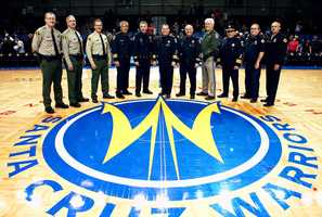 Santa Cruz Police Chief Kevin Vogel, Deputy Chief Steve Clark, Deputy Chief Rick Martinez, and Santa Cruz County Sheriff Phil Wowak went to the Santa Cruz Warriors' March 25 game for Public Safety Night.