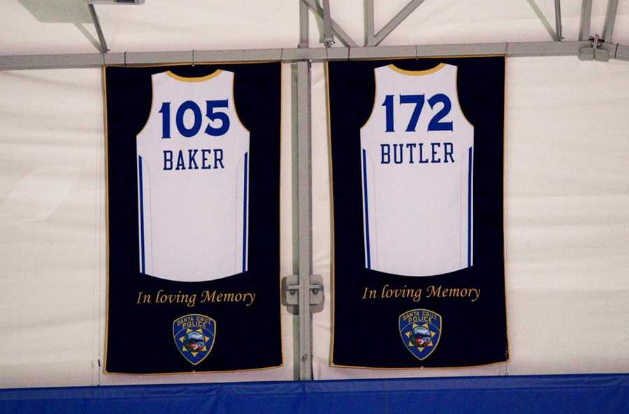 On March 25 the Santa Cruz Warriors basketball team retired two jerseys to honor Butler and Baker. The jersey have the officers' names and badge numbers on them and will remain hanging inside the Warriors' arena in downtown Santa Cruz.