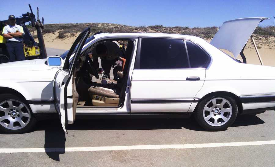 A man who was speeding on Highway 1 is in deeper trouble after he led California Highway Patrol officers on a high-speed chase in Marina, ran across sand dunes and tried to escape by swimming away in the ocean on April 9, 2013.Police identified the driver as 19-year-old Cody Keeton of San Jose. Marina police said Keeton was driving a white BMW on Highway 1 through Seaside and Marina when CHP officers tried to pull him over.After accelerating to 100 miles per hour, Keeton eventually stopped his car and ran to Marina State Beach with CHP officers, Marina police and California State Parks police in pursuit. After running across the sand, making it past a set of waves, and swimming out into deeper water, Keeton gave up and swam back to shore.