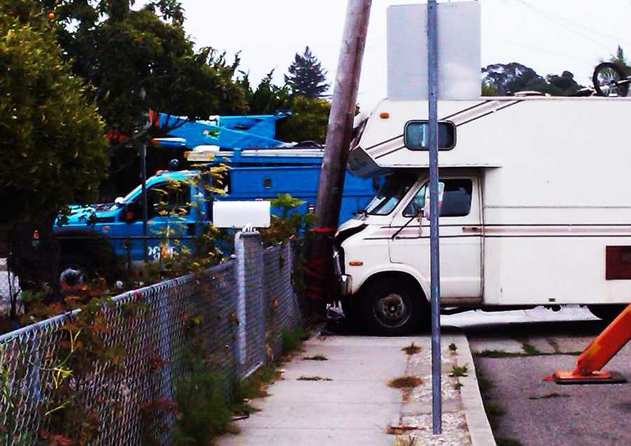 A man crashed his recreational vehicle into a major power pole and caused hundreds of homes in Santa Cruz to lose power on Aug. 4, 2013.