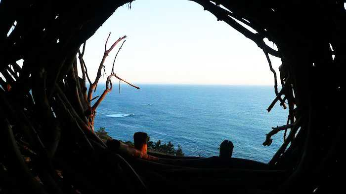 Treebones in Big Sur has this human nest overlooking the Pacific Ocean.