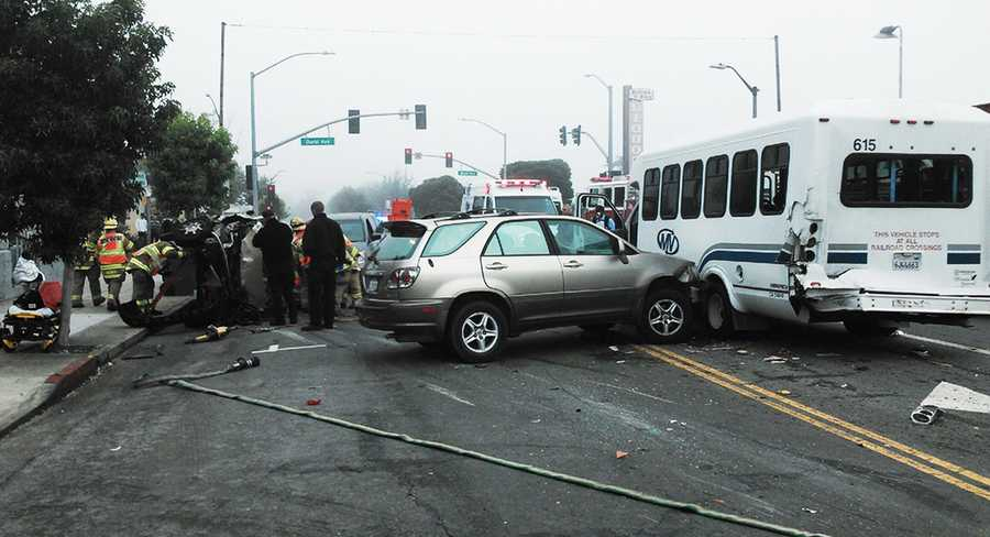 Investigators said a woman in her 50s was driving a Buick when she zoomed through a red light and crashed into other vehicles. The Buick flipped and the roof was partially torn off. She suffered serious injuries. (Sept. 16, 2013)