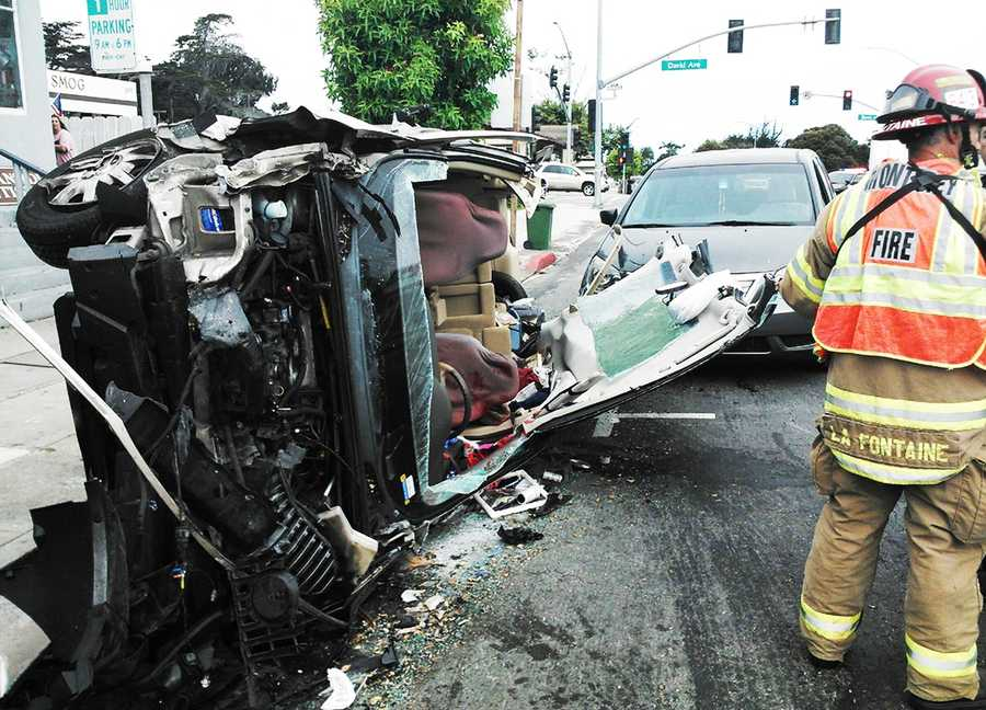 A bus, sport utility vehicle, van and another vehicle crashed on Lighthouse Avenue in Monterey and blocked the busy roadway. (Sept. 16, 2013)