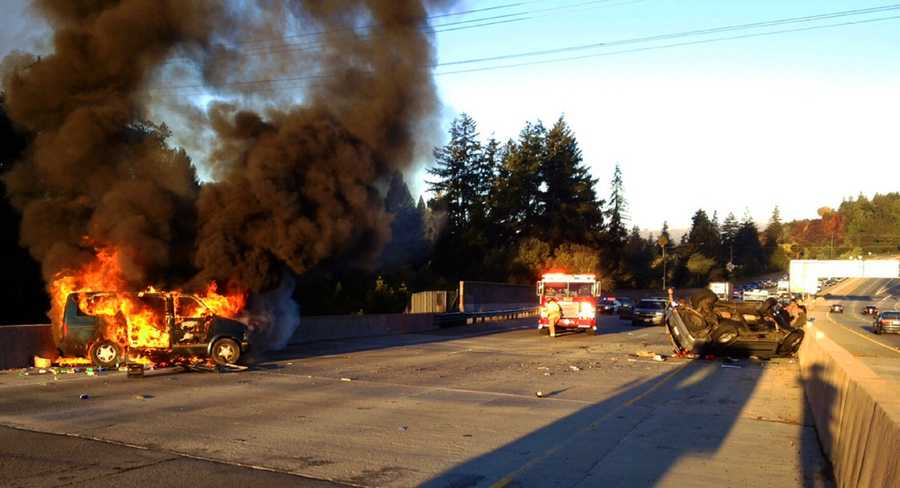 """""""Due to (Fairbanks') level of intoxication, the driver drove the Mitsubishi into the rear of the Chevrolet, causing the Chevrolet to travel in a south-westerly direction, toward the west shoulder, and catch on fire,"""" Officer S. Nelson said. The Chevrolet driver, 71-year-old Hy Nguyen of San Jose, escaped with minor injuries before the vehicle burst into flames."""