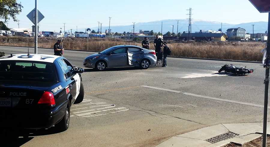 A motorcyclist was killed after T-boning crashing into a car in Salinas. The wreck happened at the intersection of West Rossi Street and Sansome Street. (Oct. 17, 2013)
