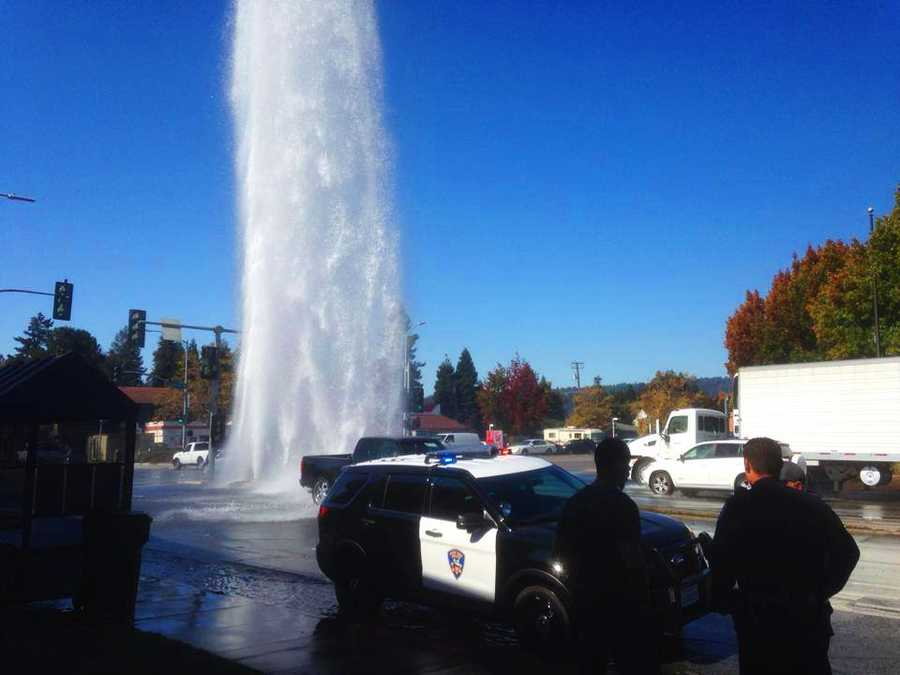 Water Street in Santa Cruz lived up to its name when a 60-foot geyser erupted and drenched the busy street on Oct. 21, 20130. No one was injured.Hundreds of gallons of water shot into the air after a fire hydrant was hit by a car. Santa Cruz Deputy Police Chief Rick Martinez said a distracted driver did not notice that traffic was at a dead stop in front of him until it was too late. To avoid rear-ending the vehicles in front of him, the driver swerved onto a center median and crashed into the hydrant.