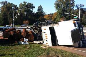 A big rig rolled on Graham Hill Road in Santa Cruz on Oct. 23, 2013 and giant redwood trucks spilled onto the roadway.Frank Delaney, 49, of Santa Cruz, was driving the big rig southbound on Graham Hill Road when he turned onto eastbound Mount Hermon Road and flipped the truck.