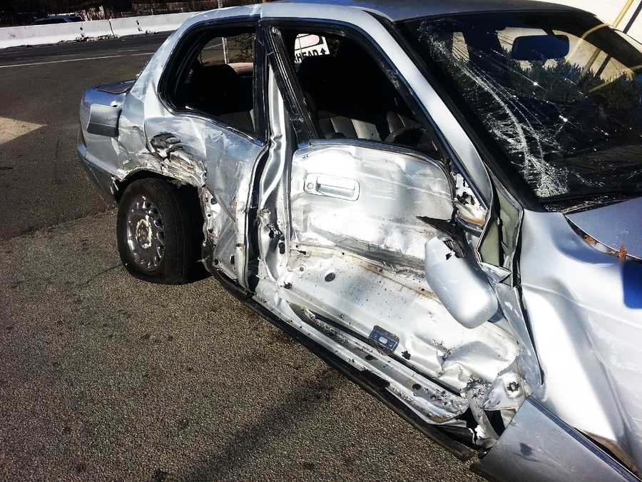 A Lexus was hit by a big-rig truck on Highway 101 in Prunedale. (Nov. 29, 2013)